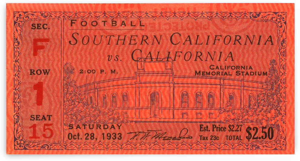 1933 USC vs. Cal by Row One Brand