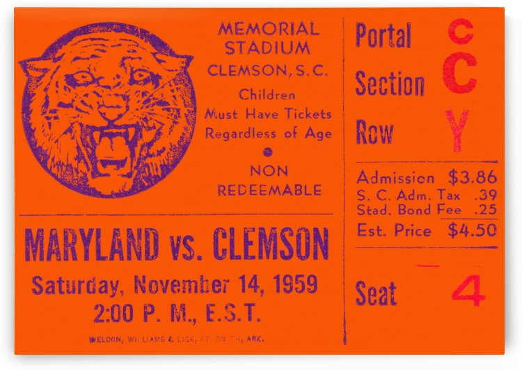 clemson ticket stubs by Row One Brand