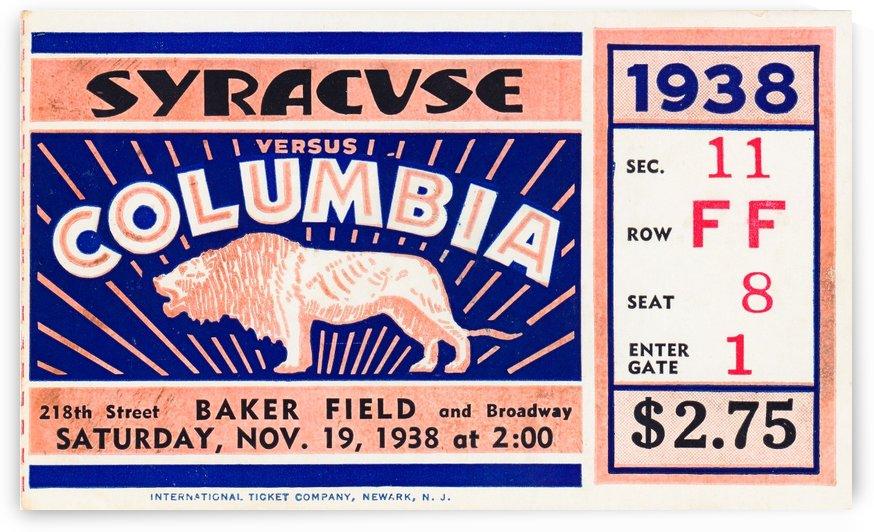 1938 Syracuse vs. Columbia by Row One Brand