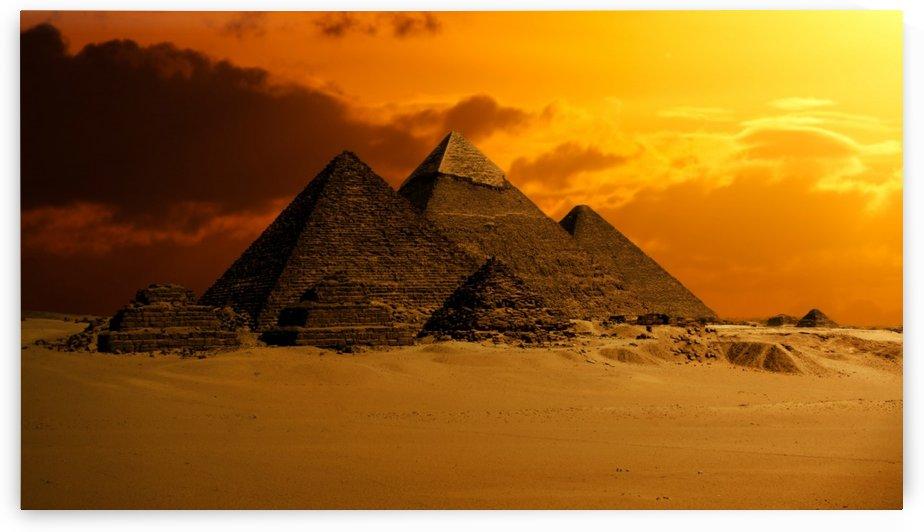 pyramid sky desert ancient egypt by Shamudy