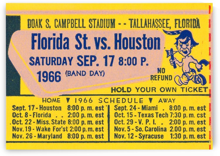 1966 Florida State Seminole Ticket Stub Art by Row One Brand