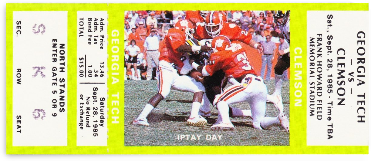 clemson tigers football art ticket posters college by Row One Brand