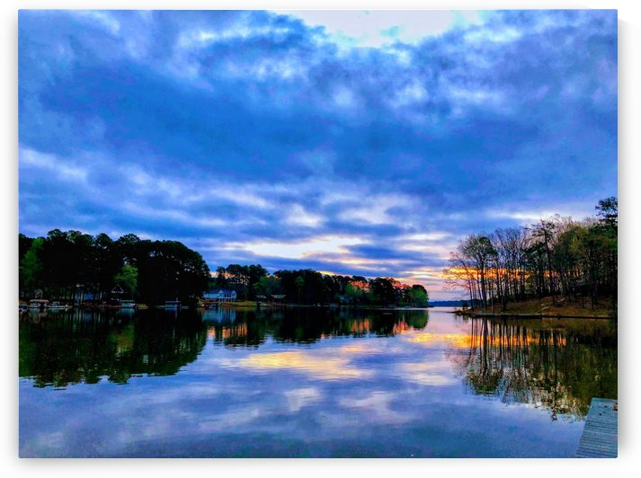 Blue Clouds With Sunrise On The Lake by Sandra Almand