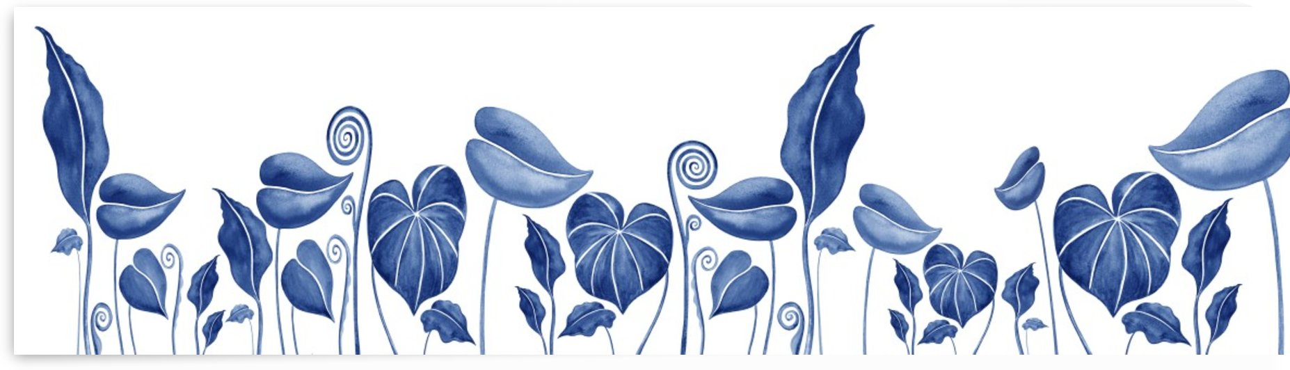 Blue Exotic Botanical Leaves Watercolor  by Irina Sztukowski