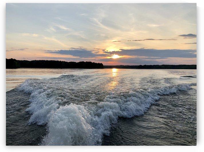 Sunset on Lake Oconee Reflecting on Boat Wake by Sandra Almand