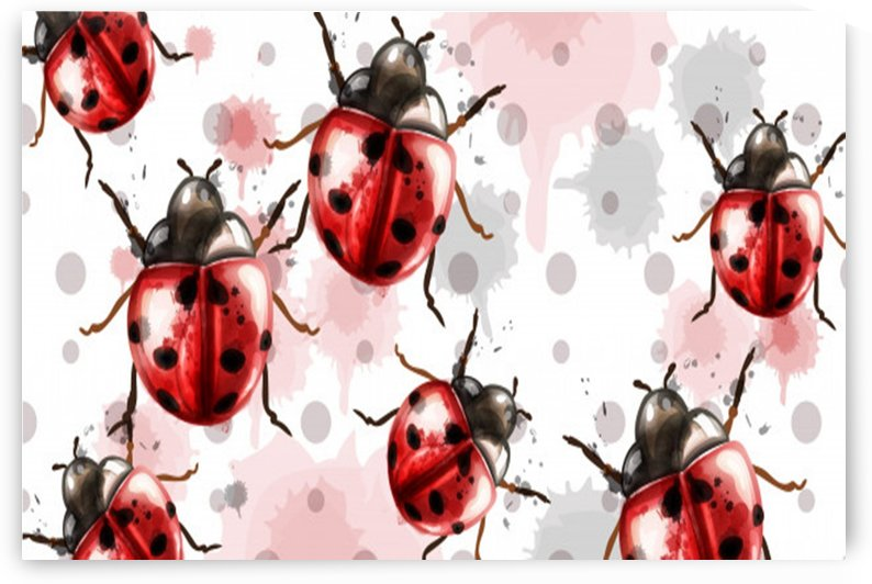 ladybugs pattern texture watercolor_ by Shamudy