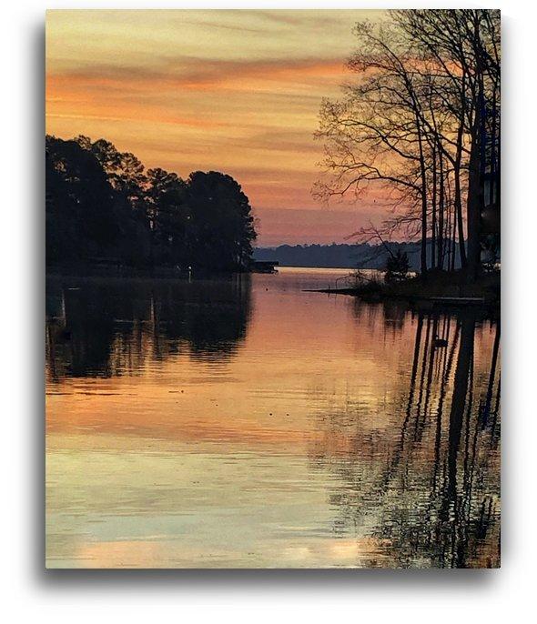 Brilliant Orange Sunrise On Lake Oconee  by Sandra Almand