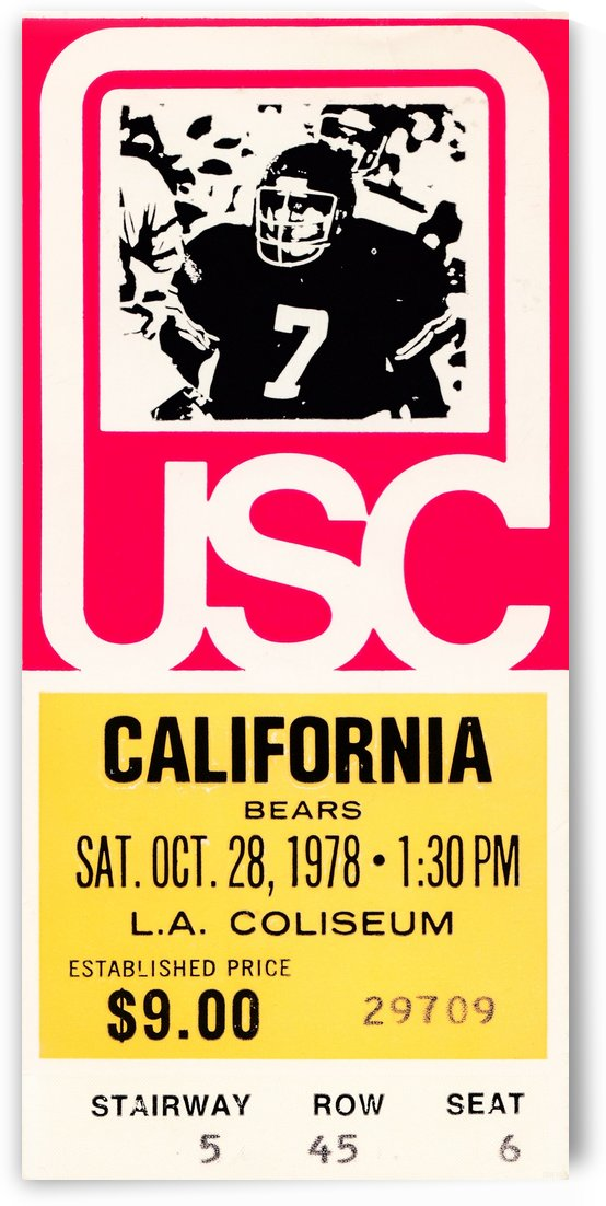 1978 usc trojans california ticket stub art poster by Row One Brand