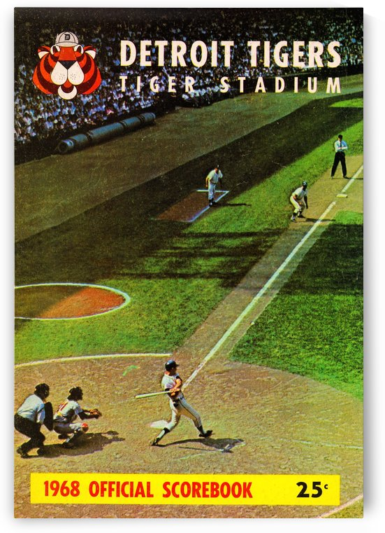 1968 detroit tigers scorebook art print poster by Row One Brand