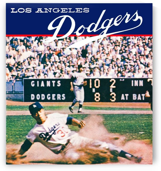 vintage la dodgers baseball poster by Row One Brand