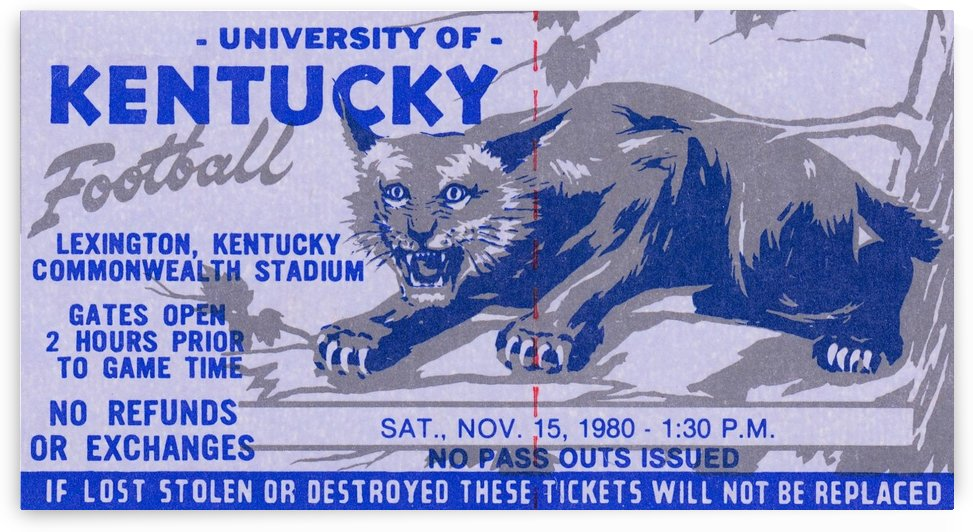 university kentucky wildcats football ticket stub wall art by Row One Brand