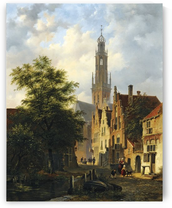 Bakenesserkerk seen from The Valkestraat, Haarlem by Bartholomeus Johannes van Hove