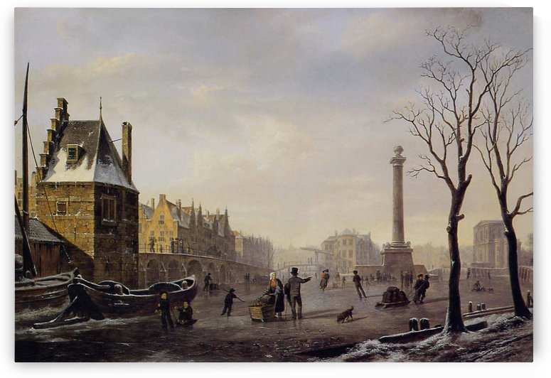 Pompenburg met Hofpoort in de winter by Bartholomeus Johannes van Hove