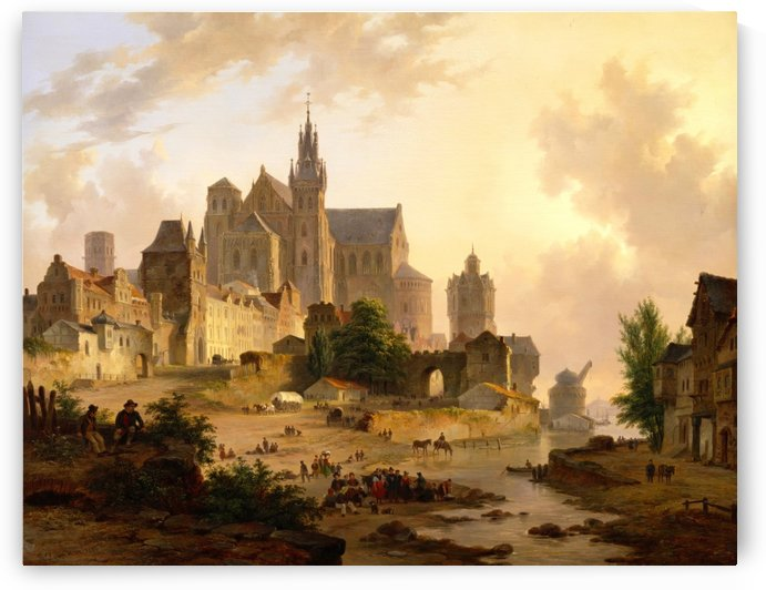 View of a city on the Rhine at sunset by Bartholomeus Johannes van Hove