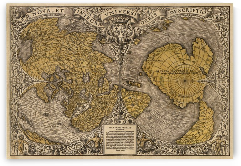 16th Century World Map by Four Beautiful Sunsets