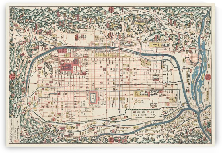 Map of Kyoto 1863 by Four Beautiful Sunsets