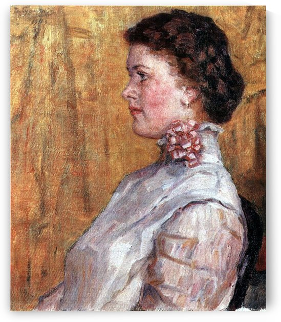 Portrait of woman with yellow background by Vasily Surikov
