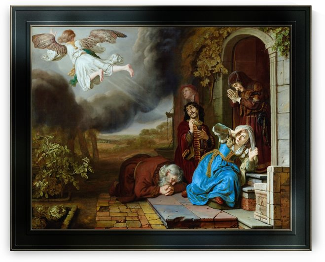 The Angel Taking Leave of Tobit and His Family by Jan Victors Old Masters Reproduction by xzendor7