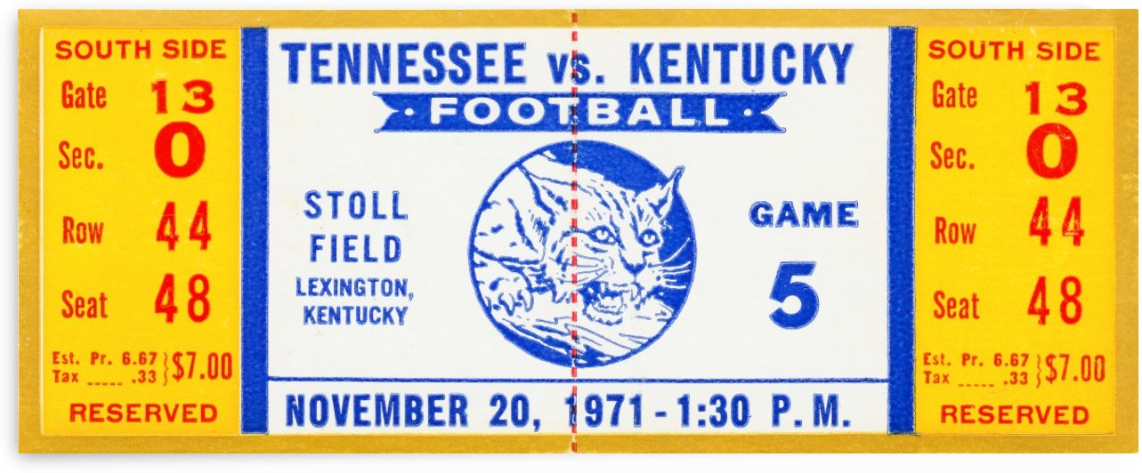 Fathers_Day_Gift_Ideas_2020_1971_College_Football_Kentucky vs. Tennessee_Stoll Field by Row One Brand
