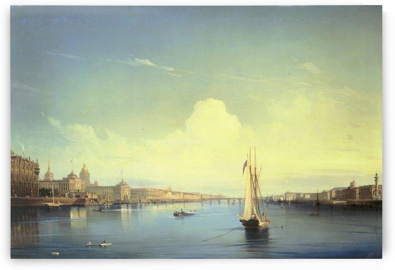 St Petersburg - At sunset - 1850 by Alexey Bogolyubov
