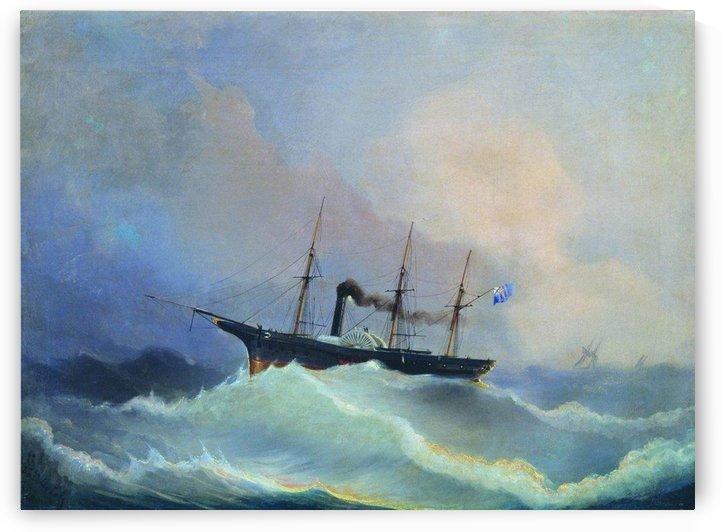 Gun ship the frigate Kamchatka by Alexey Bogolyubov