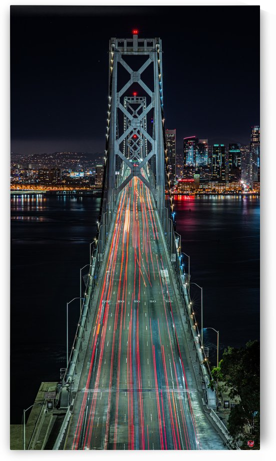 Oakland - San Francisco Bay Bridge at Night by David Yoon