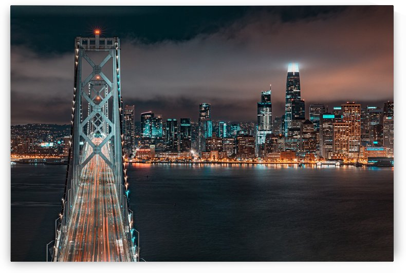 San Francisco Skyline at Night With The Bay Bridge by David Yoon