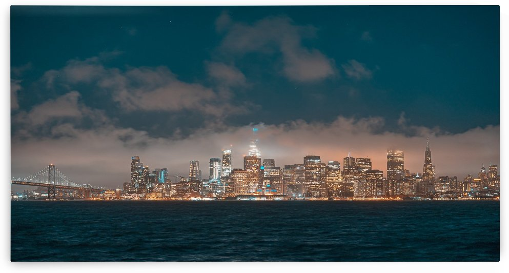 Cloudy San Francisco Night Skyline by David Yoon