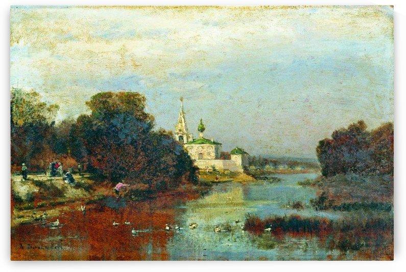Landscape with a white stone church by Alexey Bogolyubov