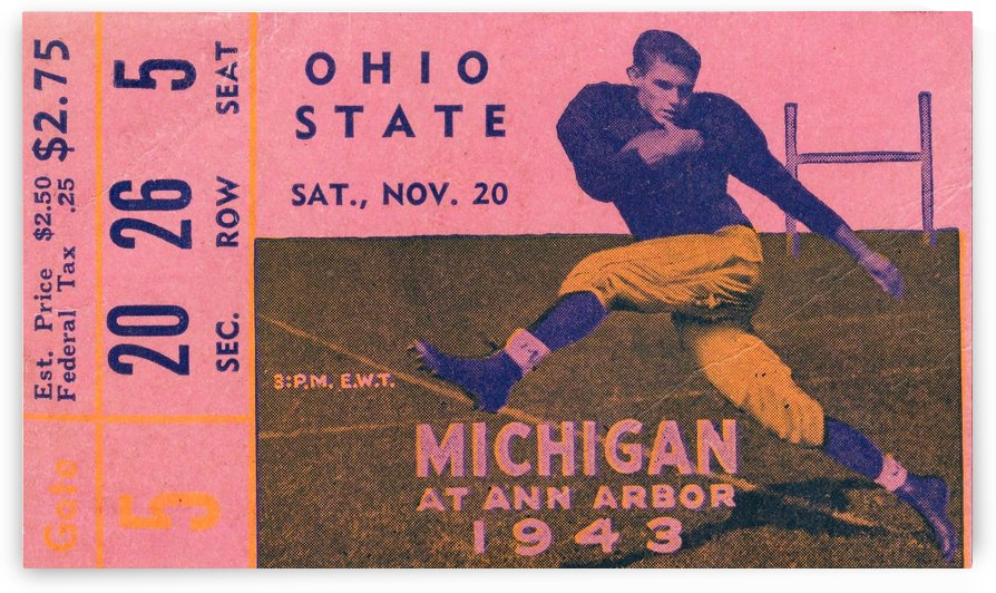 1943 Ohio State vs. Michigan Football Ticket Canvas by Row One Brand