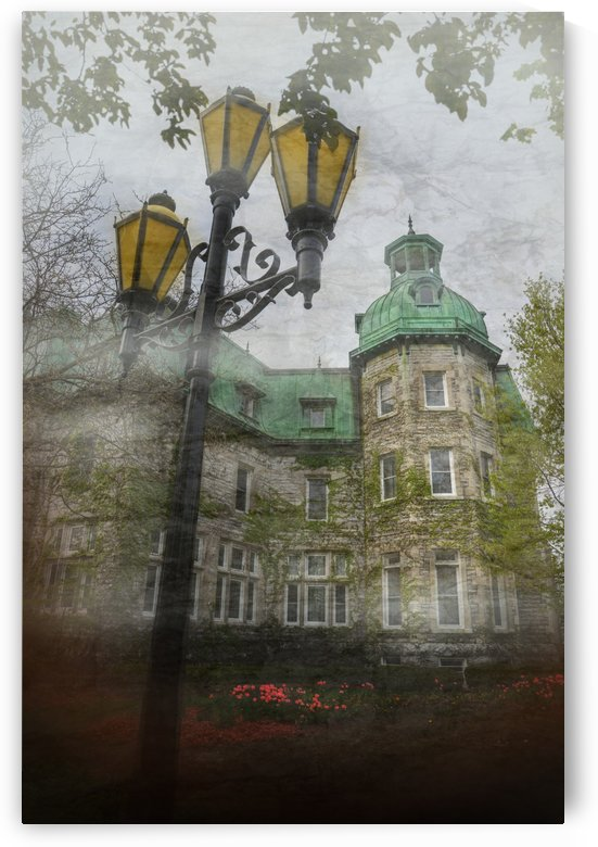 artistic view of the town hall of Saint-Hyacinthe with the lamppost in the foreground by Francois Lariviere