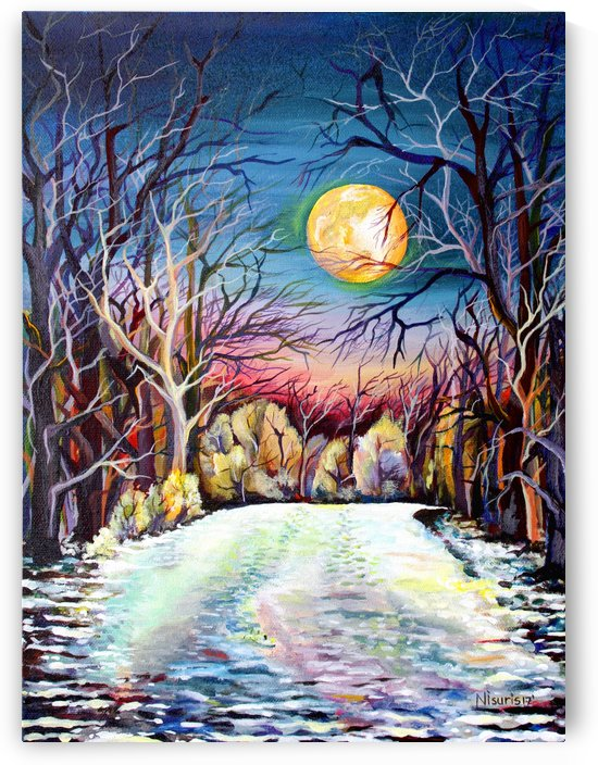 Winter Full Moon Night Landscape Watercolor by Nisuris Art