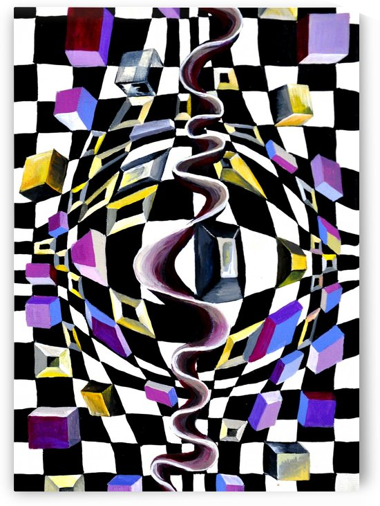 Watercolor Abstract Chess Pattern by Nisuris Art