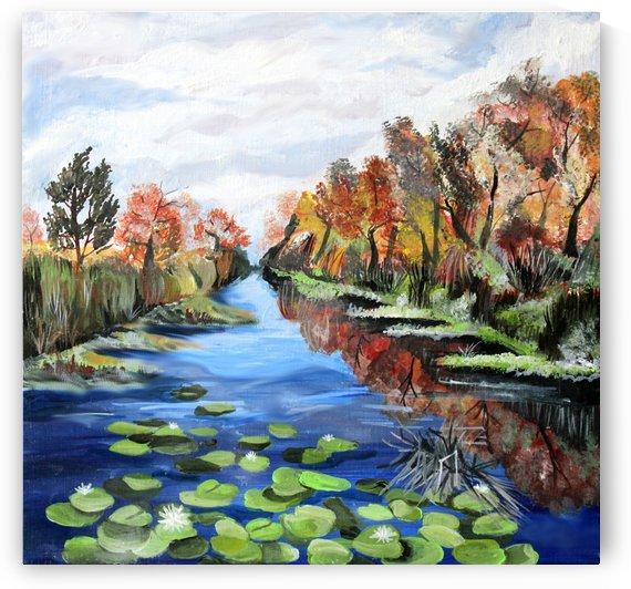 Danube River Watercolor Seascape by Nisuris Art