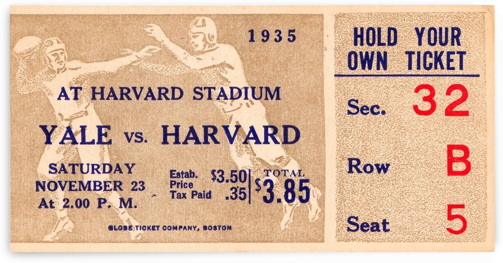 1935 Harvard vs. Yale Ticket Stub Art by Row One Brand