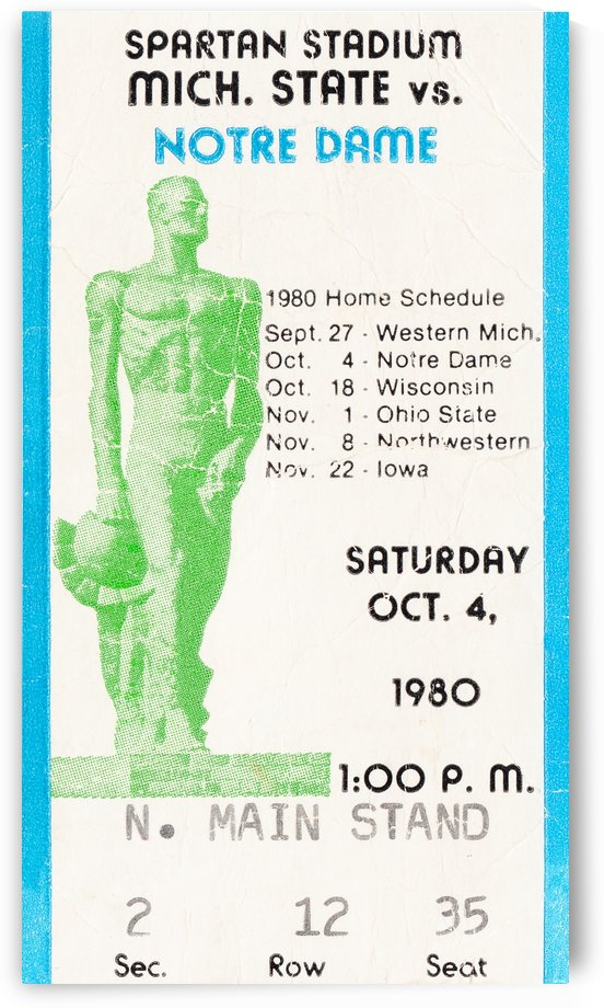 1980 Michigan State vs. Notre Dame Football Ticket Canvas by Row One Brand