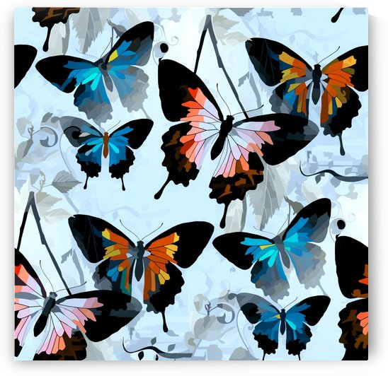 Seamless Butterflies Pattern  by Nisuris Art