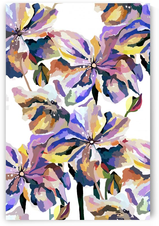 Watercolor Vintage Retro Floral Pattern  by Nisuris Art