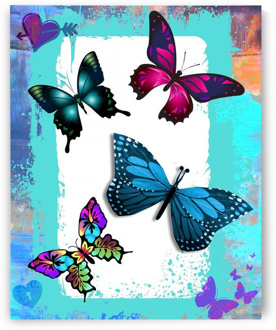 Whimsical Morpho Butterflies in Vivid Colors by Nisuris Art