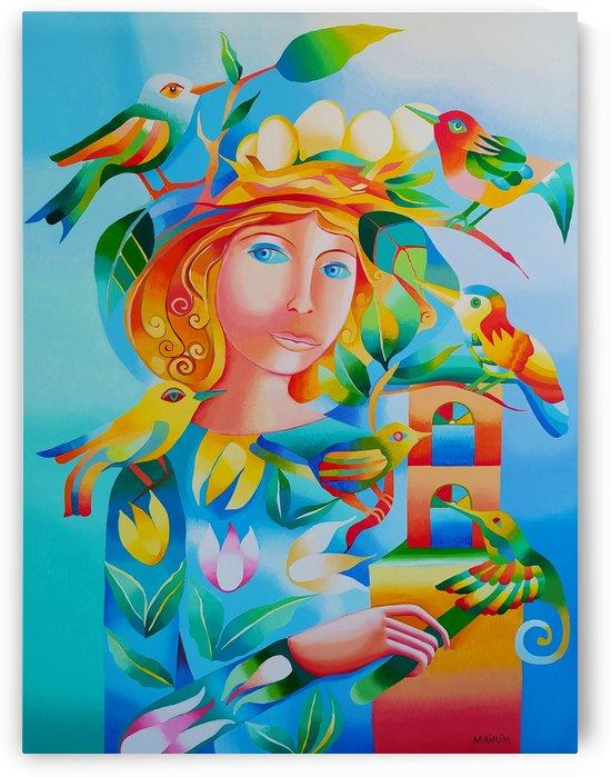 Woman with birds by Mairim Perez Roca