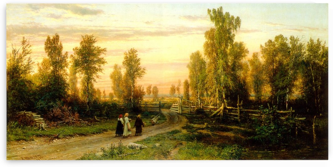 Three ladies crossing road by Ivan Shishkin