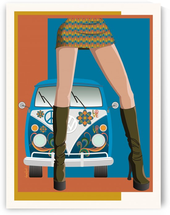 Girl and Old Car Kombi by Wagner Hardt