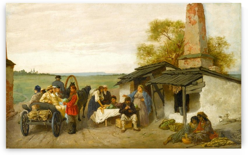 City Travellers Being Offered Fruit by Konstantin Trutovsky