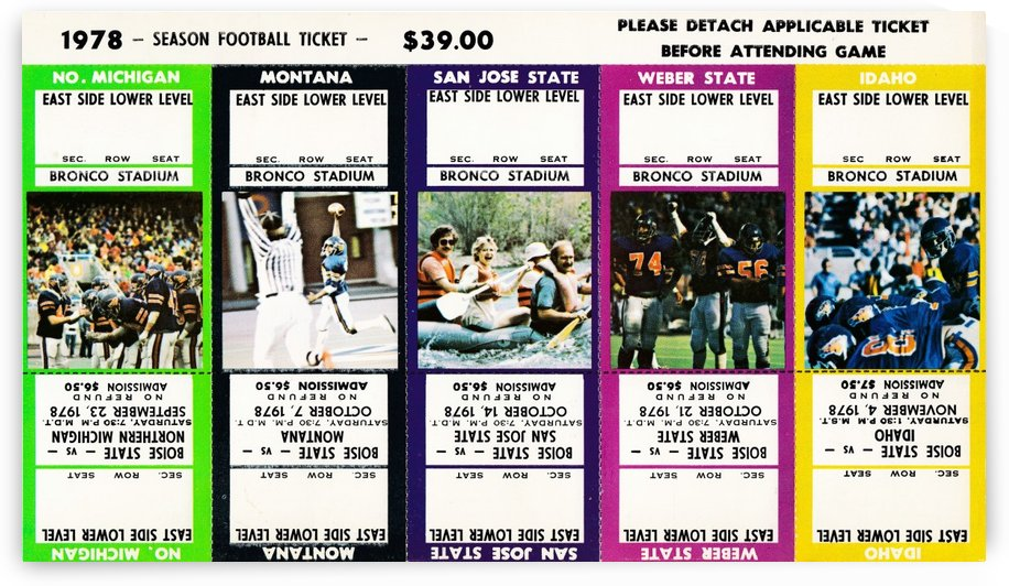boise state broncos football art college ticket stub by Row One Brand