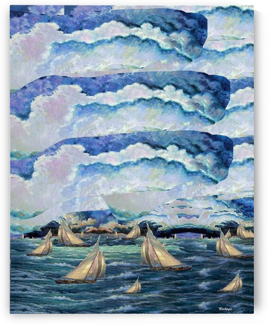 Storm Clouds Over many clipper boat on the river side by Dehope