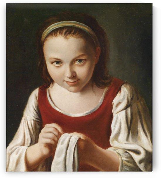 Sewing girl by Pietro Antonio Rotari