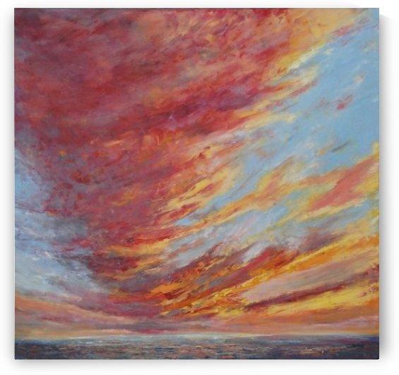 WALKING UNDER SUNSET SKY original skyscape painting by WALKING UNDER SUNSET SKY original skyscape painting