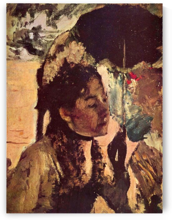 In the Tuileries - Woman with Parasol by Degas by Degas