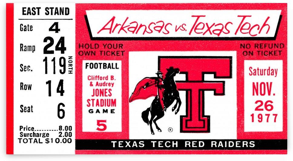 1977 texas tech red raiders ticket stub by Row One Brand