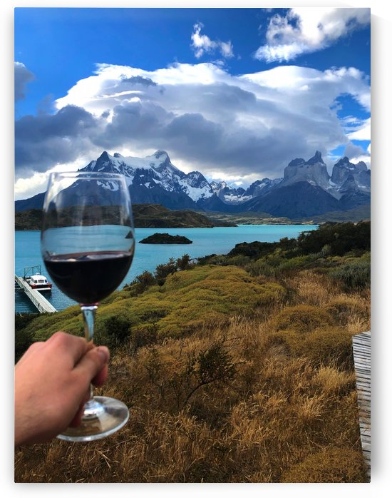 Torres del Paine and Lake Pehoe with Glass of Malbec by Creative Endeavors - Steven Oscherwitz